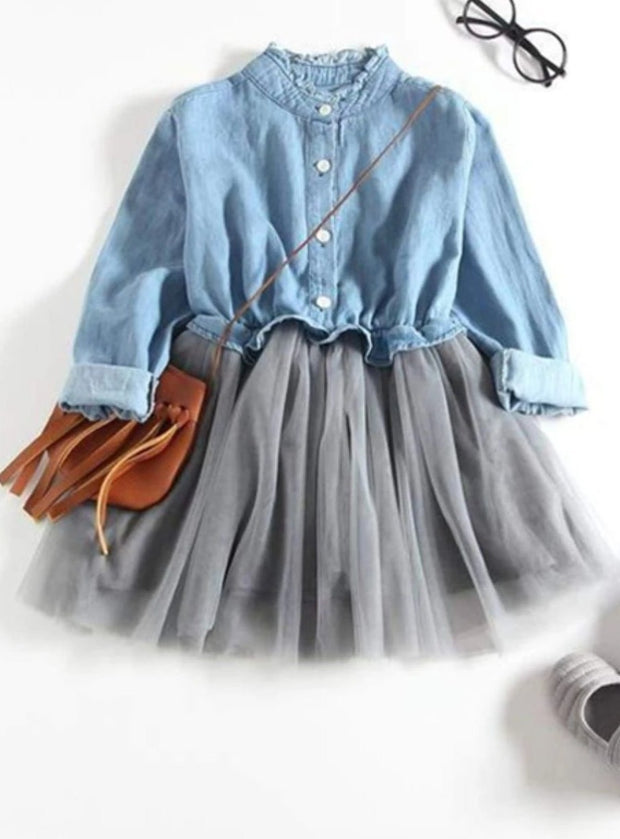 Girls Denim Long Sleeve Tutu Dress (Dark Blue & Light Blue Denim Options) - Blue / 3T - Girls Fall Casual Dress