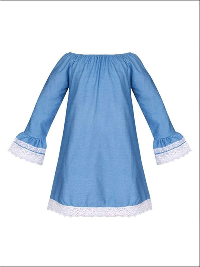 Girls Denim Off the Shoulder Lace Boho Flared Sleeves Dress - Girls Fall Casual Dress