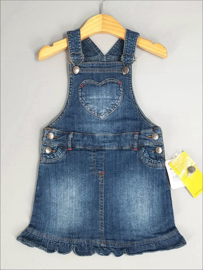 Girls Denim Overall Dress with Heart Pocket - Girls Fall Casual Dress