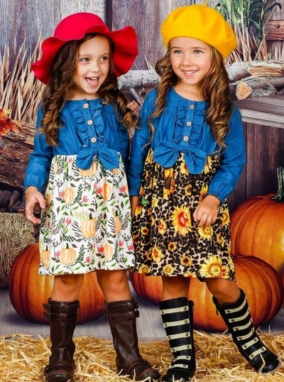 Girls Denim Printed Ruffled Button Down Long Sleeve Dress with Bow - Girls Fall Casual Dress