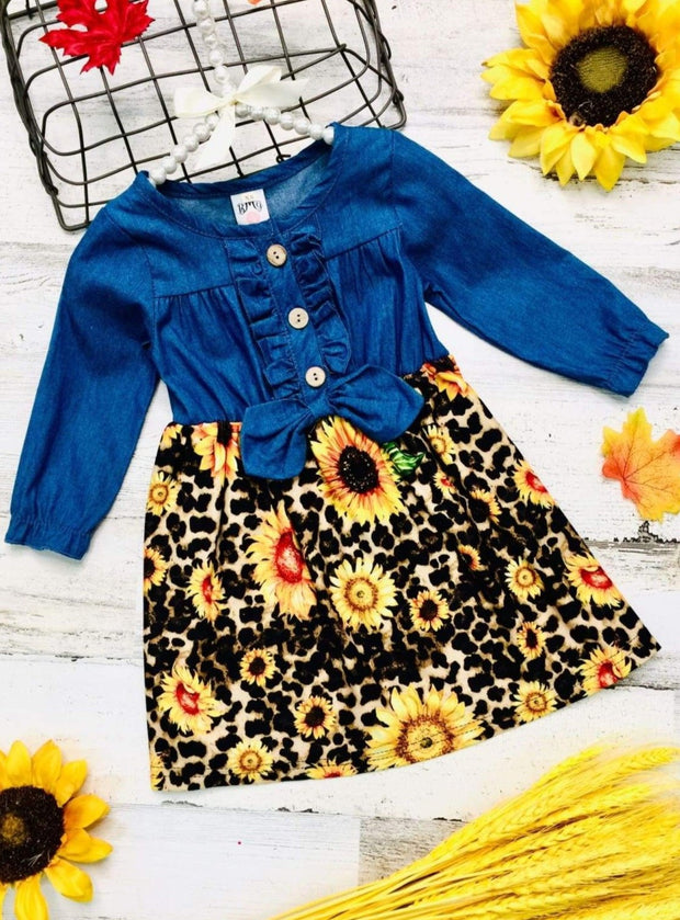 Girls Denim Printed Ruffled Button Down Long Sleeve Dress with Bow - Yellow / 2T - Girls Fall Casual Dress