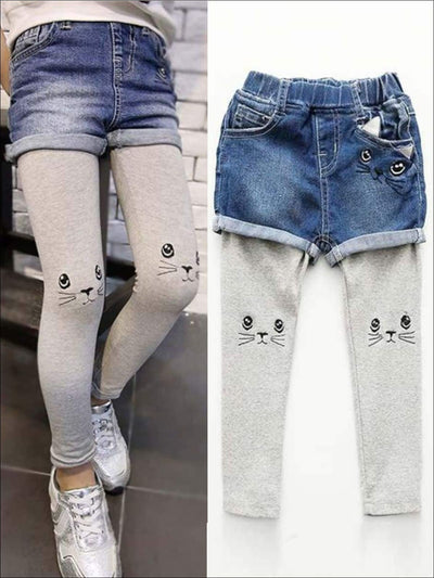 Girls Denim Shorts with Built-In Cat Embroidered Leggings - Girls Leggings