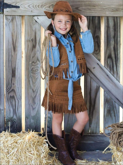 Girls Denim & Suede Cowgirl Halloween Costume - 2T / Blue - Girls Halloween Costume