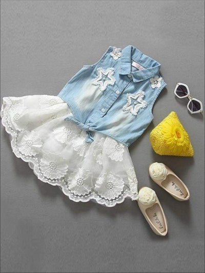Girls Denim Tie Front Top & Lace Skirt Set - Girls Spring Casual Set