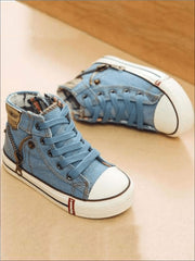 Girls Denim Zip Up High Top Sneakers - Girls Sneakers