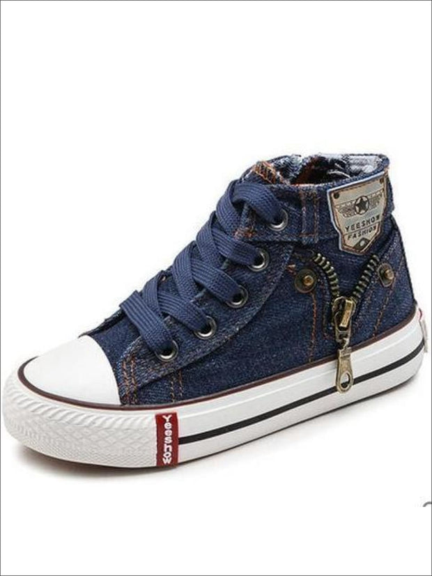 Girls Denim Zip Up High Top Sneakers - deep blue / 2 - Girls Sneakers
