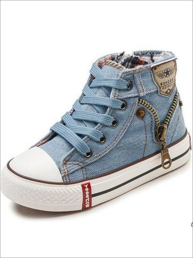 Girls Denim Zip Up High Top Sneakers - light blue / 2 - Girls Sneakers