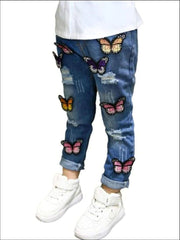 Girls Distressed Butterfly Applique Jeans - Girls Spring Bottom