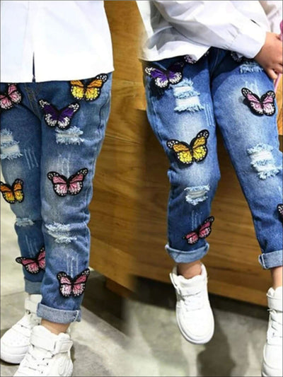 Girls Distressed Butterfly Applique Jeans - 2T - Girls Spring Bottom