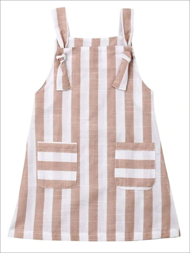 Girls Distressed Candy Stripe Dress - Tan / 2T - Girls Spring Casual Dress