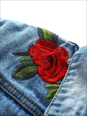 Girls Distressed Denim Jacket with Rose Embroidery - Girls Jacket