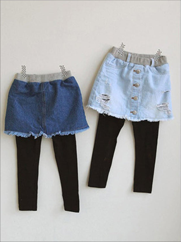 Girls Distressed Denim Skirt Pants - Girls Leggings