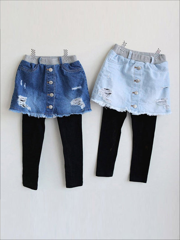 Girls Distressed Denim Skirt Pants - Blue / 3T - Girls Leggings