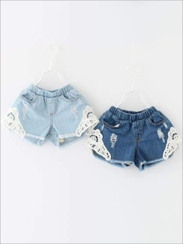 Girls Distressed Lace Denim Shorts - Girls Shorts