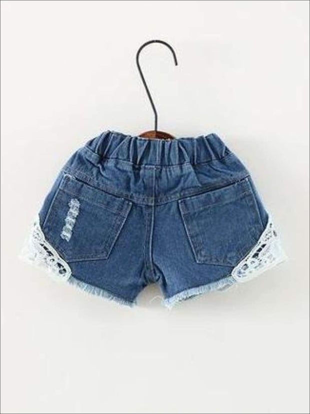 Girls Distressed Lace Denim Shorts - Dark Blue / 24M - Girls Shorts