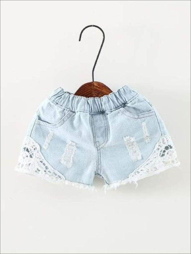 Girls Distressed Lace Denim Shorts - Light Blue / 24M - Girls Shorts
