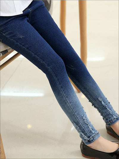Girls Distressed Ombre Skinny Jeans - Girls Jeans