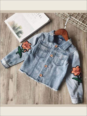 Girls Distressed Vintage-Washed Denim Jacket with Flower Embroidery - 2T - Girls Jacket