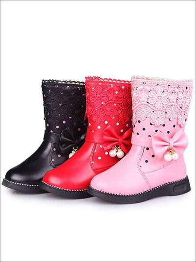 Girls Dotted & Lacey Bow Applique Mid-Calf Princess Boots - Girls Boots