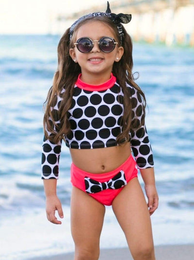 Girls Dotted Retro Cropped Rash Guard Polka Dot Two Piece Swimsuit - Girls Two Piece Swimsuit