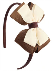 Girls Double Bow Ribbon Headband (5 Color Options) - Brown - Hair Accessories