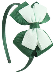 Girls Double Bow Ribbon Headband (5 Color Options) - Green - Hair Accessories