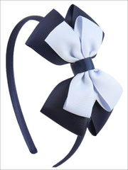 Girls Double Bow Ribbon Headband (5 Color Options) - Navy - Hair Accessories
