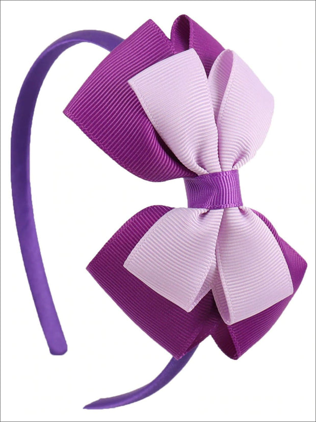 Girls Double Bow Ribbon Headband (5 Color Options) - Purple - Hair Accessories