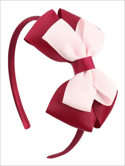 Girls Double Bow Ribbon Headband (5 Color Options) - Red - Hair Accessories