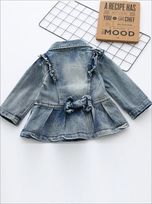 Girls Double Breasted A-Line Denim Jacket with Ruffle and Pearl Appliques - Girls Jacket