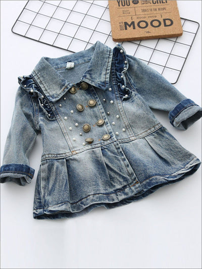 Girls Double Breasted A-Line Denim Jacket with Ruffle and Pearl Appliques - Denim / 2T - Girls Jacket