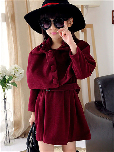 Girls Double Breasted Belted Dress & Matching Bolero Set - Burgundy / 6Y - Girls Fall Dressy Set