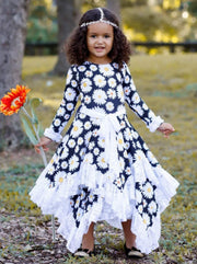 Girls Double Layer Handkerchief Dress with Lace Ruffles - Girls Fall Dressy Dress