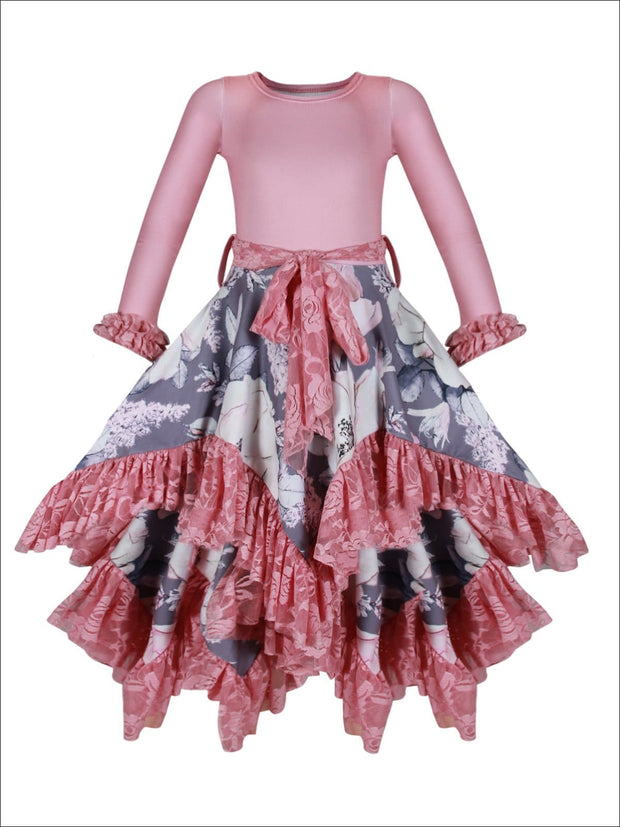 Girls Double Layer Handkerchief Dress with Lace Ruffles - Pink / 2T-3T - Girls Fall Dressy Dress