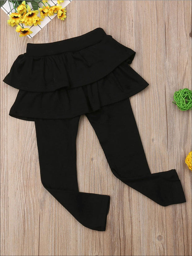 Girls Double Layer Ruffle Skirt Leggings - Girls Leggings