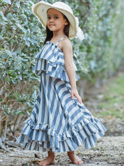 Girls Double Ruffle Crop Top and Maxi Skirt Set - Girls Spring Casual Set