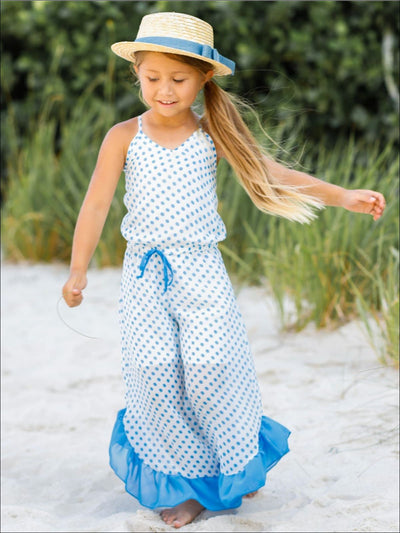 Girls Drawstring Ruffled Palazzo Jumpsuit - Girls Jumpsuit