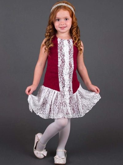 Girls Dress w/ Lace Sequin Center Piece and Lace Skirt - Fall Low Stock