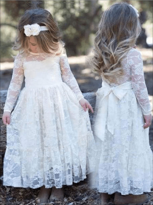 Girls Dressy Creme Long Seeve Lace Maxi Dress - Girls Fall Dress
