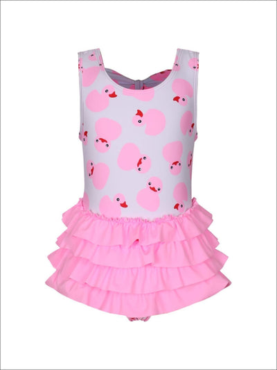 Girls Duckies Print Layered Ruffled Skirted One Piece Swimsuit - Pink / 2T - Girls One Piece Swimsuit