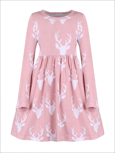 Girls Dusty Pink Deer Print Tunic Dress - Fall Low Stock