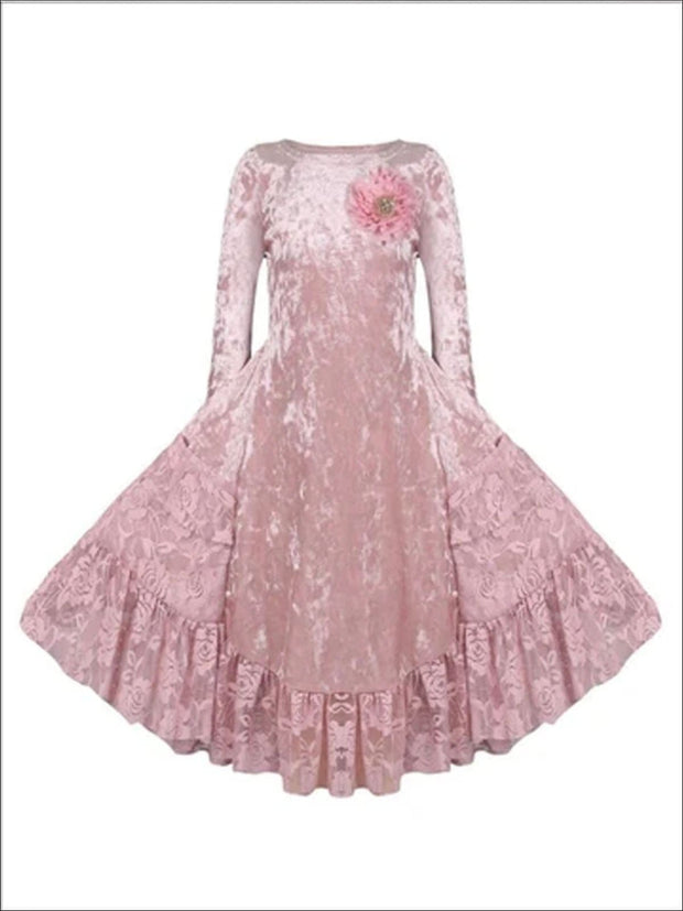Girls Dusty Pink Velvet Princess Holiday Dress with Lace Ruffled Pockets - Dusty Pink / 2T/3T - Girls Fall Dressy Dress