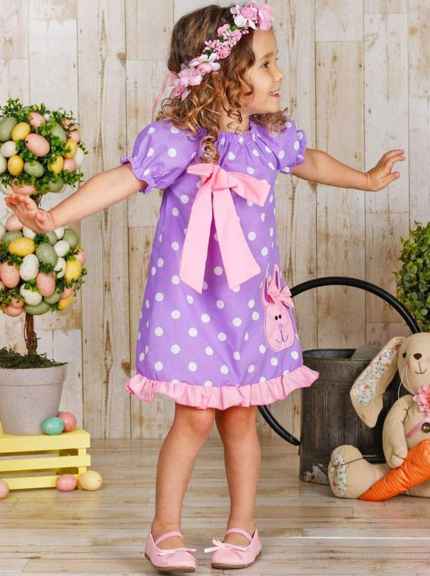Girls Easter Elastic Sleeve Ruffled Applique Dress with Bow - Girls Spring Casual Dress