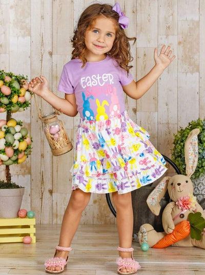 Girls Easter Squad Bunny Print Top and Ruffled Skirt Set - Girls Easter Set