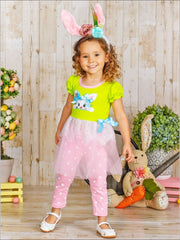 Girls Easter Themed Applique Sequin Tutu Tunic & Capri Leggings Set - Girls Easter Set