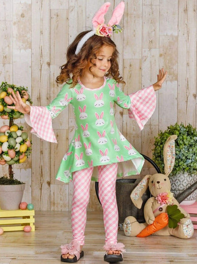 Girls Easter Themed Bunny Print Flared Gingham Sleeve Tunic & Leggings Set - Girls Easter Set