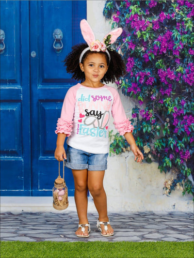 Girls Easter Themed Did Some Bunny Say Easter Long Raglan Sleeve Ruffled Top - Girls Spring Top