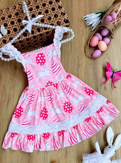 Girls Easter Themed Lace Scalloped Flutter Sleeve Dress - Pink / XS-2T - Girls Easter Dress