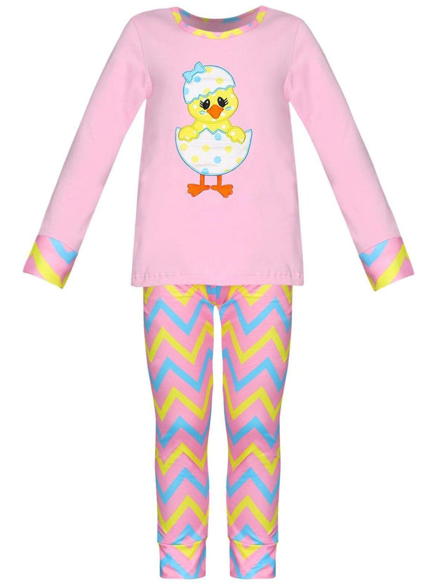 Girls Easter Themed Long Sleeve Pajama Set with Matching Doll Set - Girls Pajama