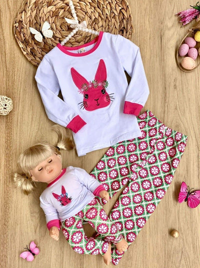 Girls Easter Themed Long Sleeve Set with Matching Doll Set - Green / 2T - Girls Easter Set